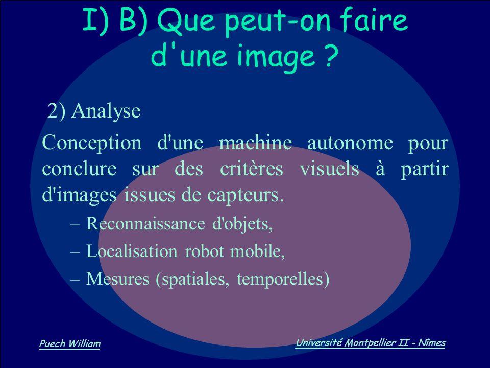Vision par Ordinateur Puech William Université Montpellier II - Nîmes I) B) Que peut-on faire d'une image ? 2) Analyse Conception d'une machine autono