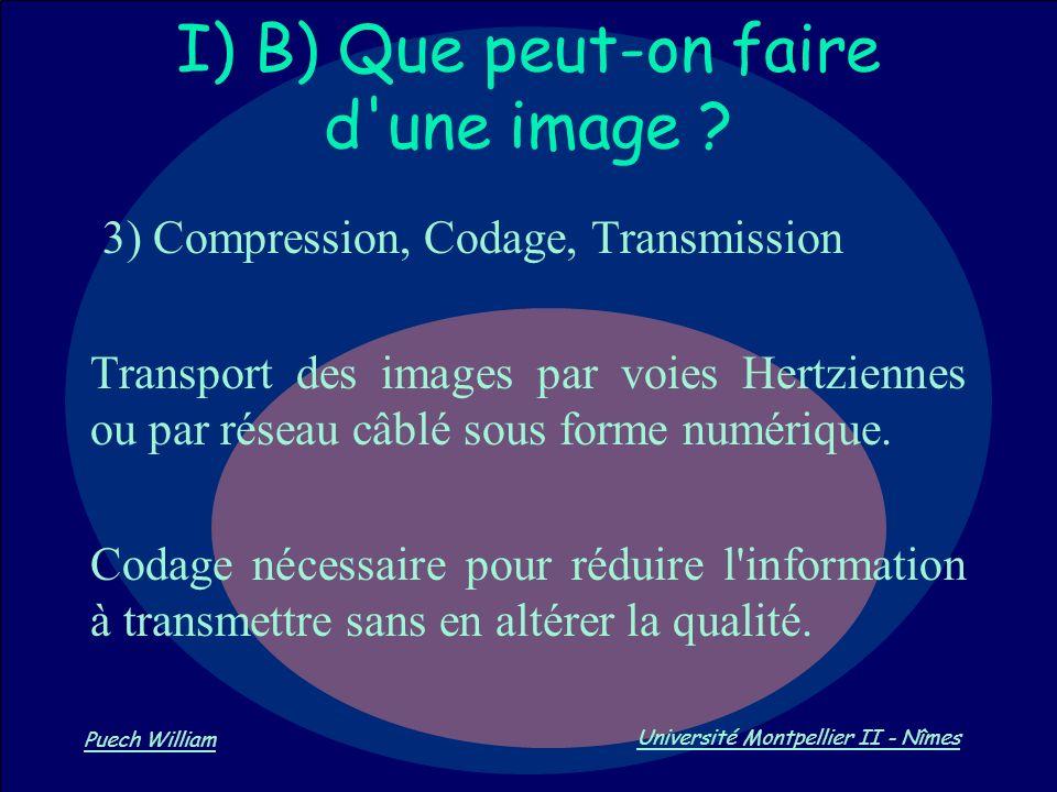 Vision par Ordinateur Puech William Université Montpellier II - Nîmes I) B) Que peut-on faire d'une image ? 3) Compression, Codage, Transmission Trans