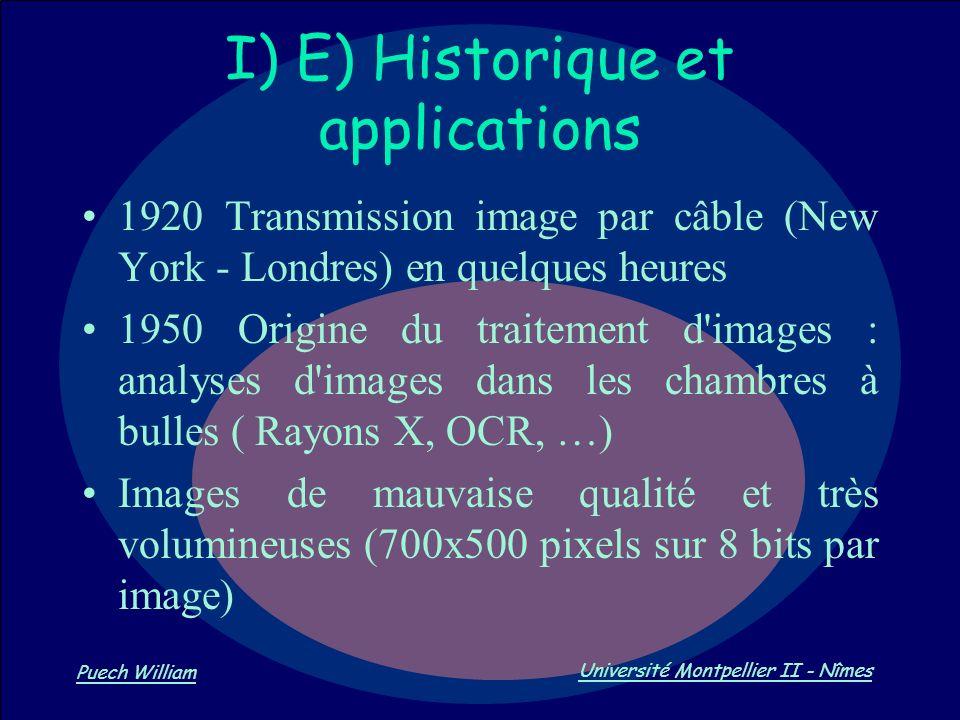 Vision par Ordinateur Puech William Université Montpellier II - Nîmes I) E) Historique et applications 1920 Transmission image par câble (New York - L