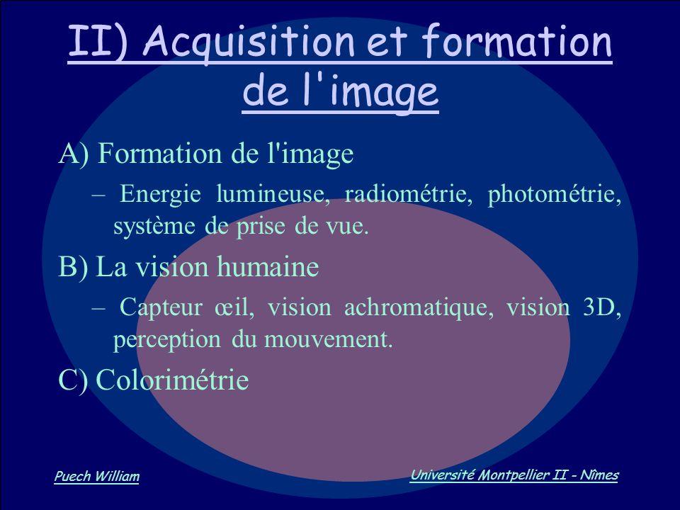 Vision par Ordinateur Puech William Université Montpellier II - Nîmes II) Acquisition et formation de l'image A) Formation de l'image – Energie lumine