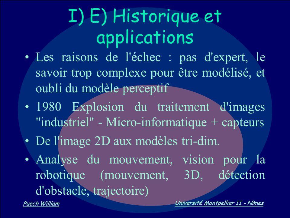 Vision par Ordinateur Puech William Université Montpellier II - Nîmes I) E) Historique et applications Les raisons de l'échec : pas d'expert, le savoi