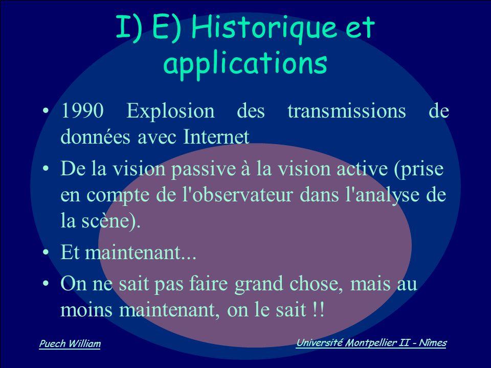 Vision par Ordinateur Puech William Université Montpellier II - Nîmes I) E) Historique et applications 1990 Explosion des transmissions de données ave