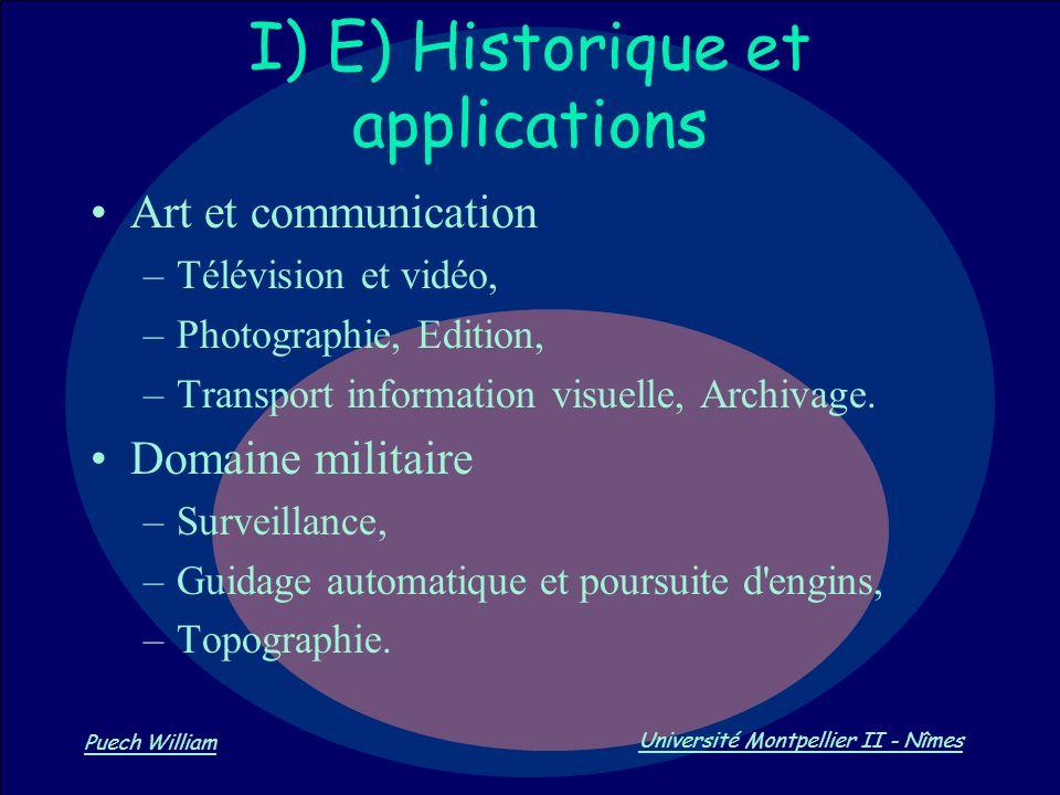 Vision par Ordinateur Puech William Université Montpellier II - Nîmes I) E) Historique et applications Art et communication –Télévision et vidéo, –Pho