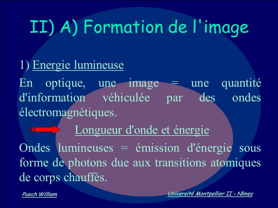 Vision par Ordinateur Puech William Université Montpellier II - Nîmes II) A) Formation de l'image 1) Energie lumineuse En optique, une image = une qua