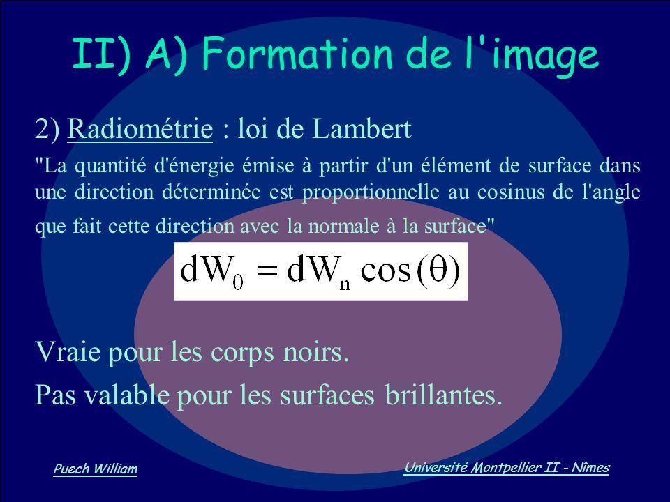 Vision par Ordinateur Puech William Université Montpellier II - Nîmes II) A) Formation de l'image 2) Radiométrie : loi de Lambert