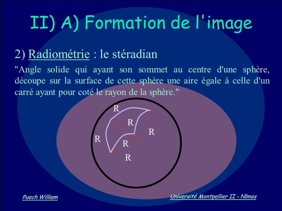 Vision par Ordinateur Puech William Université Montpellier II - Nîmes II) A) Formation de l'image 2) Radiométrie : le stéradian