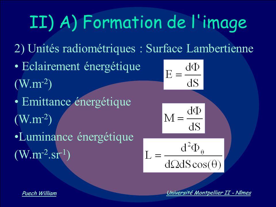 Vision par Ordinateur Puech William Université Montpellier II - Nîmes II) A) Formation de l'image 2) Unités radiométriques : Surface Lambertienne Ecla