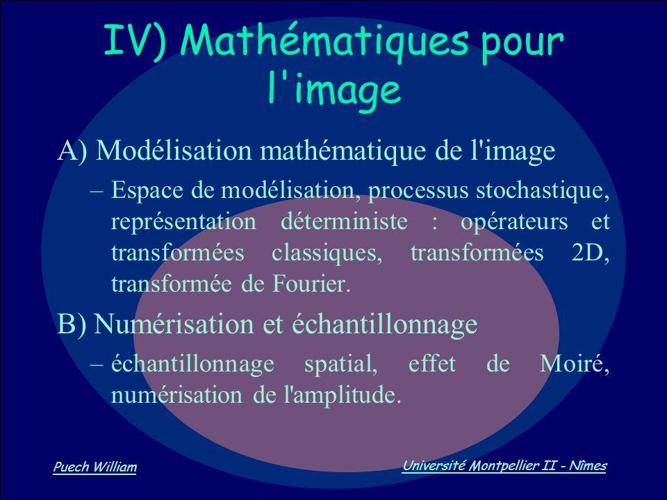Vision par Ordinateur Puech William Université Montpellier II - Nîmes IV) Mathématiques pour l'image A) Modélisation mathématique de l'image –Espace d