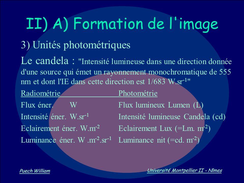 Vision par Ordinateur Puech William Université Montpellier II - Nîmes II) A) Formation de l'image 3) Unités photométriques Le candela :