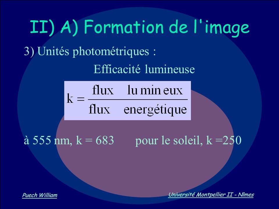 Vision par Ordinateur Puech William Université Montpellier II - Nîmes II) A) Formation de l'image 3) Unités photométriques : Efficacité lumineuse à 55