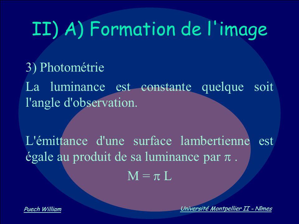 Vision par Ordinateur Puech William Université Montpellier II - Nîmes II) A) Formation de l'image 3) Photométrie La luminance est constante quelque so