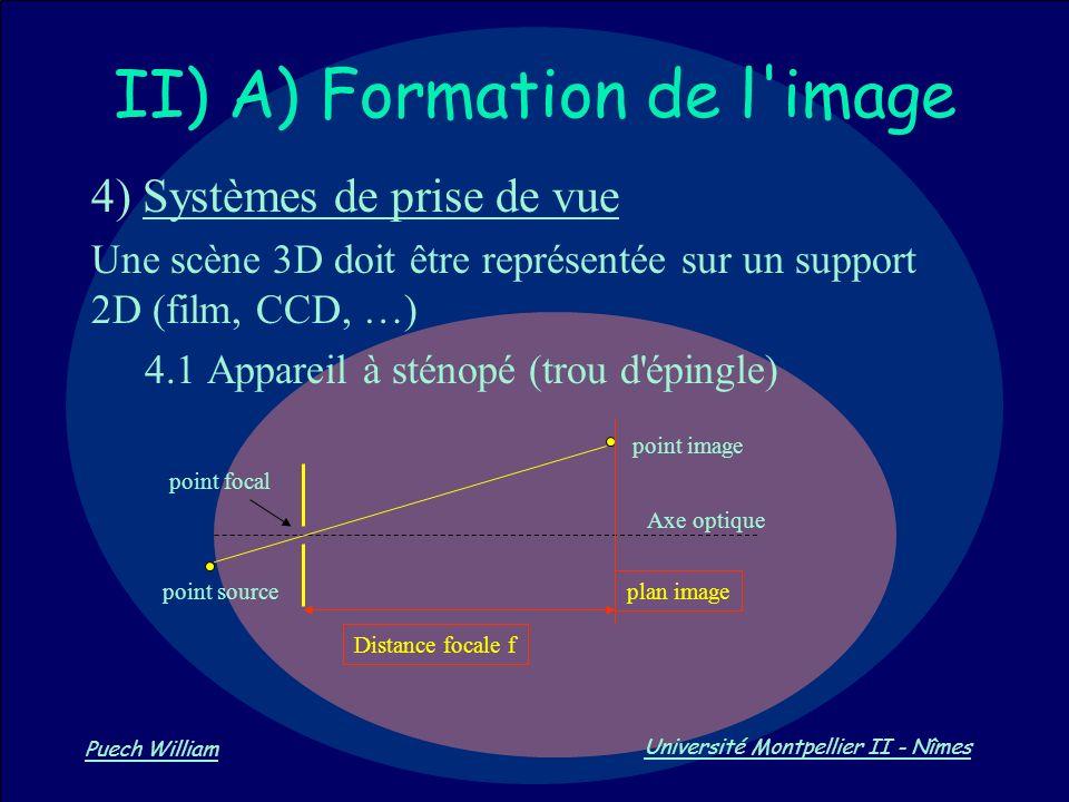 Vision par Ordinateur Puech William Université Montpellier II - Nîmes II) A) Formation de l'image 4) Systèmes de prise de vue Une scène 3D doit être r