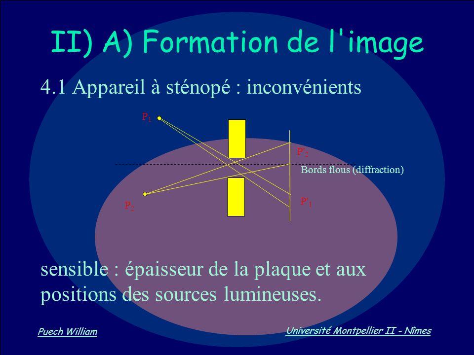 Vision par Ordinateur Puech William Université Montpellier II - Nîmes II) A) Formation de l'image 4.1 Appareil à sténopé : inconvénients sensible : ép