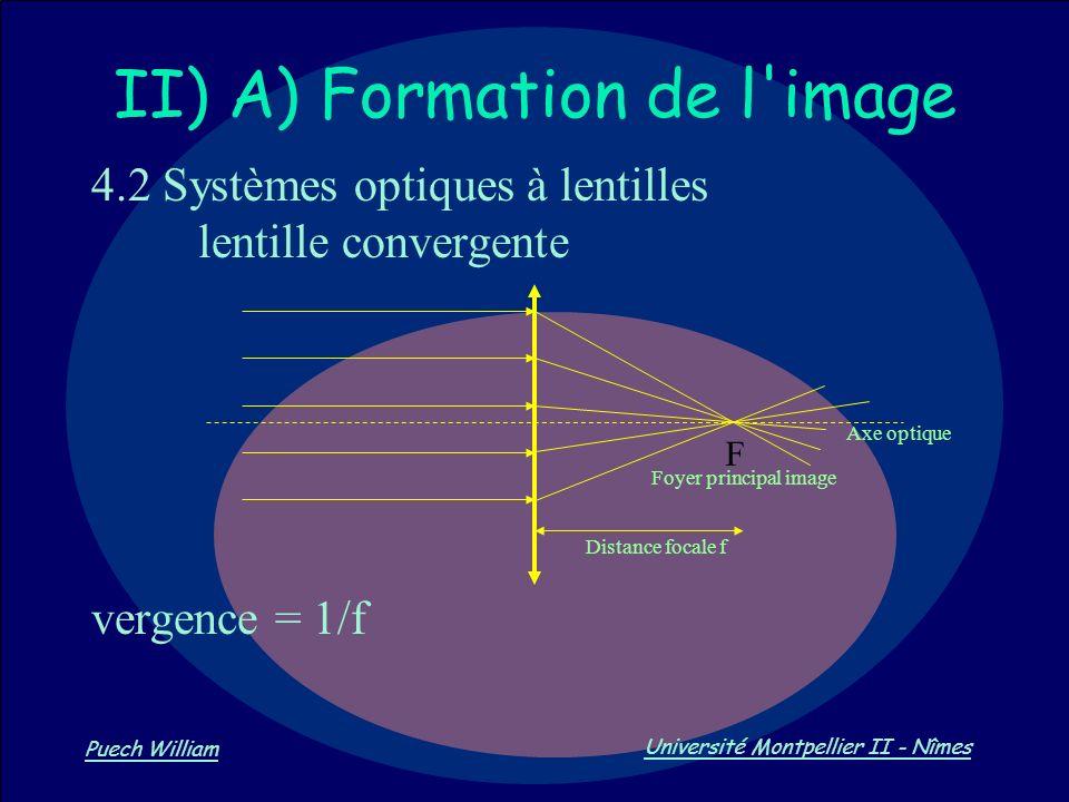 Vision par Ordinateur Puech William Université Montpellier II - Nîmes II) A) Formation de l'image 4.2 Systèmes optiques à lentilles lentille convergen
