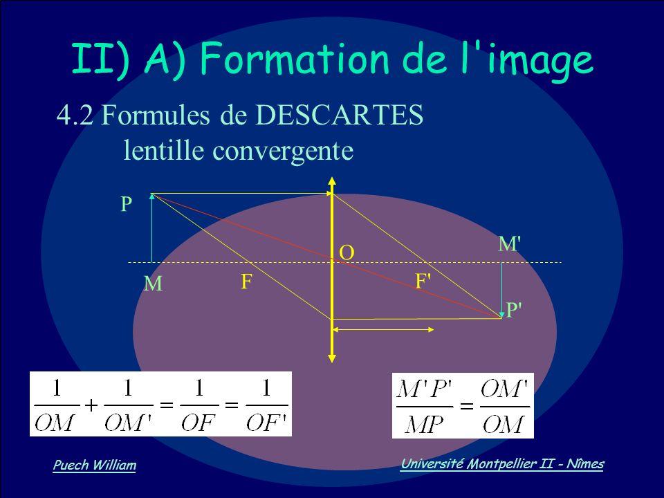 Vision par Ordinateur Puech William Université Montpellier II - Nîmes II) A) Formation de l'image 4.2 Formules de DESCARTES lentille convergente F' M'