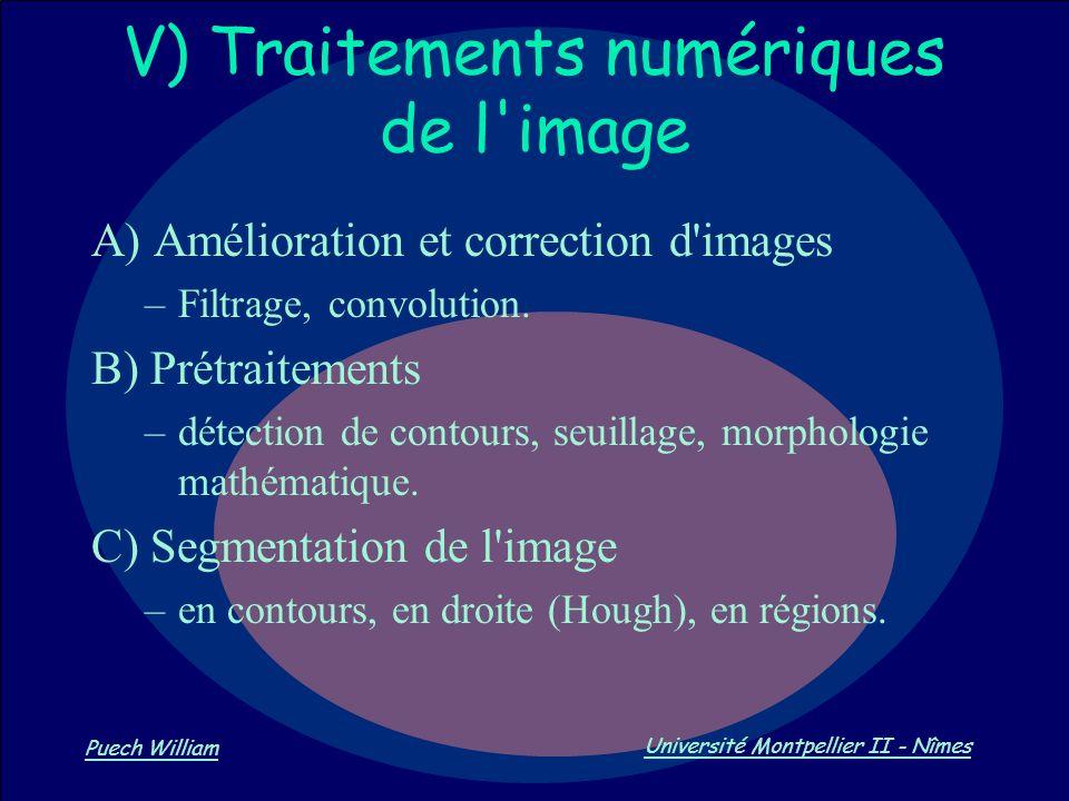Vision par Ordinateur Puech William Université Montpellier II - Nîmes V) Traitements numériques de l'image A) Amélioration et correction d'images –Fil