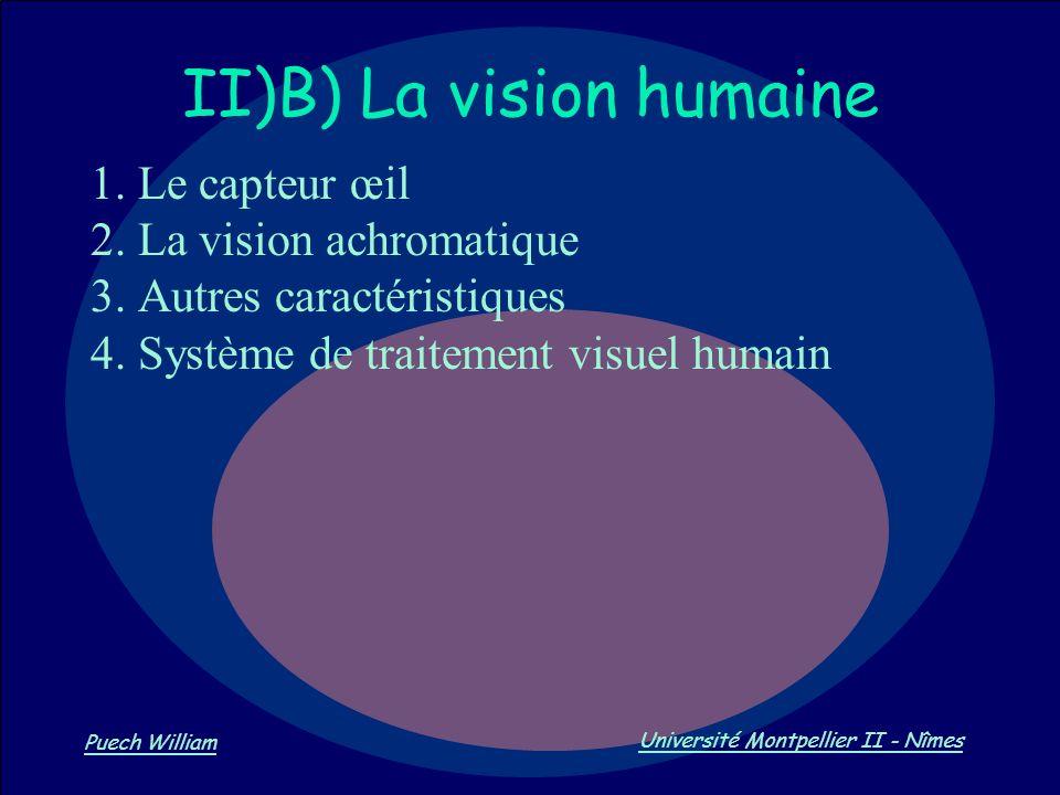 Vision par Ordinateur Puech William Université Montpellier II - Nîmes II)B) La vision humaine 1. Le capteur œil 2. La vision achromatique 3. Autres ca