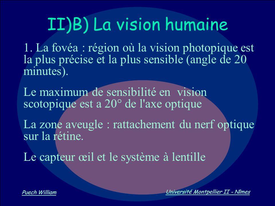 Vision par Ordinateur Puech William Université Montpellier II - Nîmes II)B) La vision humaine 1. La fovéa : région où la vision photopique est la plus