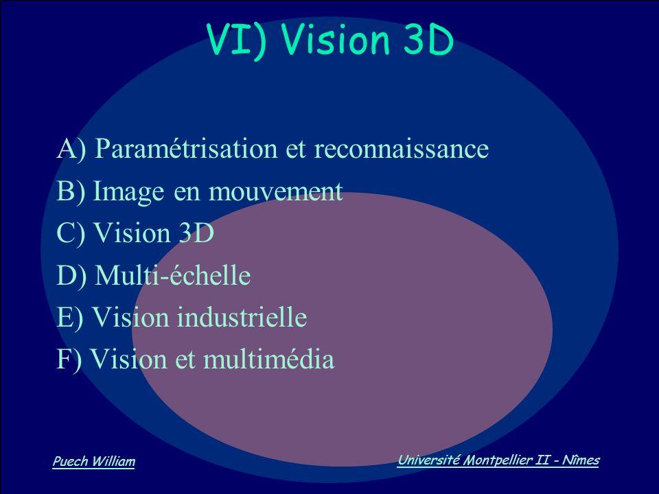 Vision par Ordinateur Puech William Université Montpellier II - Nîmes VI) Vision 3D A) Paramétrisation et reconnaissance B) Image en mouvement C) Visi