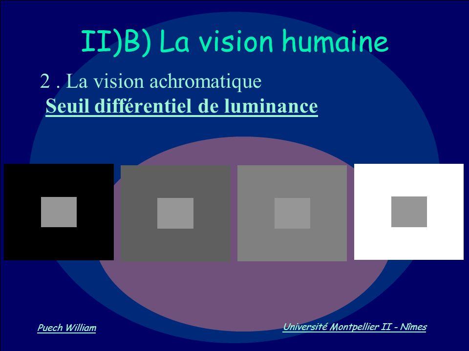 Vision par Ordinateur Puech William Université Montpellier II - Nîmes II)B) La vision humaine 2. La vision achromatique Seuil différentiel de luminanc