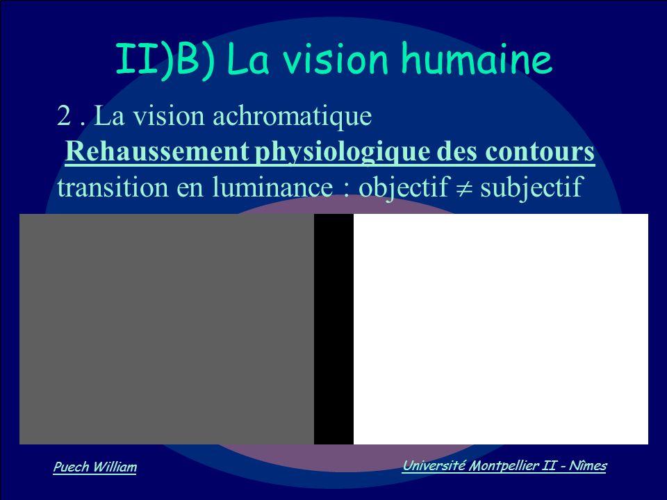 Vision par Ordinateur Puech William Université Montpellier II - Nîmes II)B) La vision humaine 2. La vision achromatique Rehaussement physiologique des