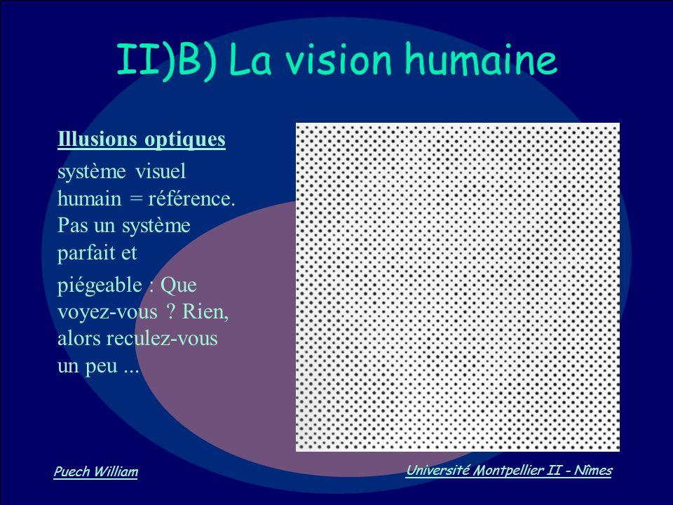 Vision par Ordinateur Puech William Université Montpellier II - Nîmes II)B) La vision humaine Illusions optiques système visuel humain = référence. Pa