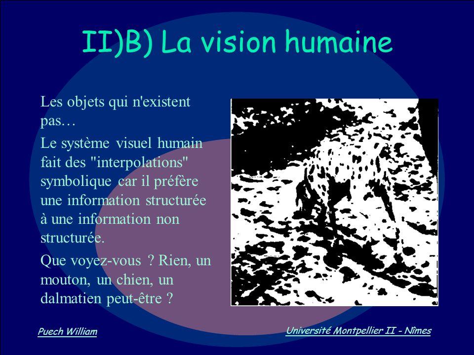 Vision par Ordinateur Puech William Université Montpellier II - Nîmes II)B) La vision humaine Les objets qui n'existent pas… Le système visuel humain