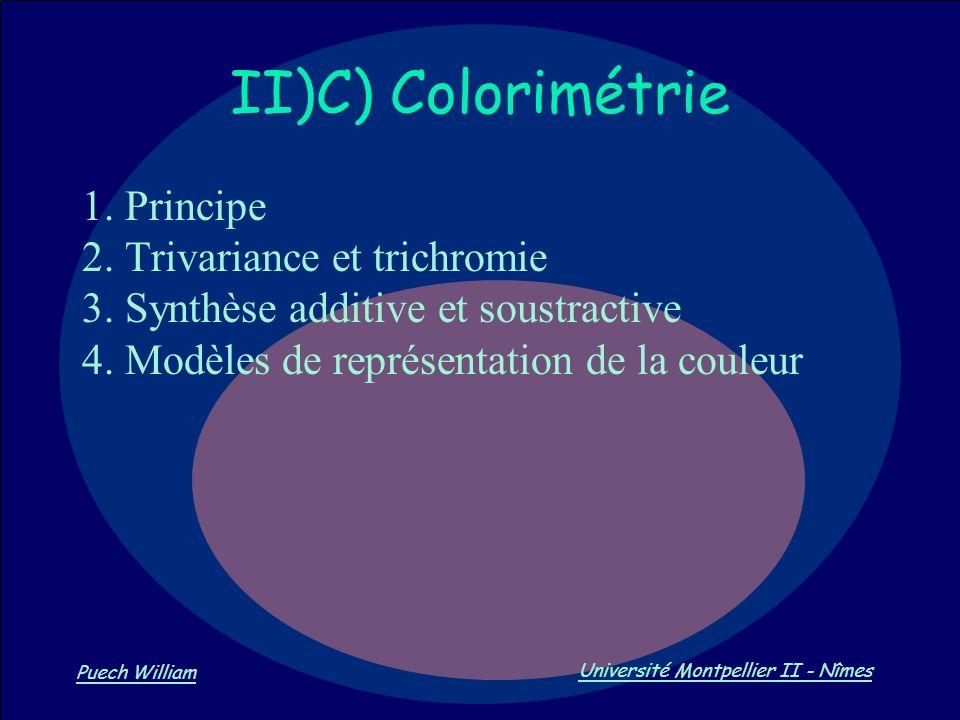 Vision par Ordinateur Puech William Université Montpellier II - Nîmes II)C) Colorimétrie 1. Principe 2. Trivariance et trichromie 3. Synthèse additive