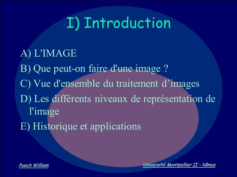 Vision par Ordinateur Puech William Université Montpellier II - Nîmes I) Introduction A) L'IMAGE B) Que peut-on faire d'une image ? C) Vue d'ensemble