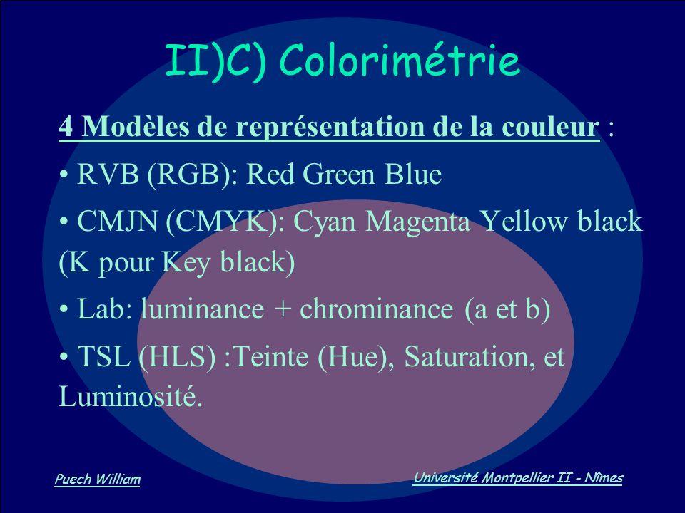 Vision par Ordinateur Puech William Université Montpellier II - Nîmes II)C) Colorimétrie 4 Modèles de représentation de la couleur : RVB (RGB): Red Gr