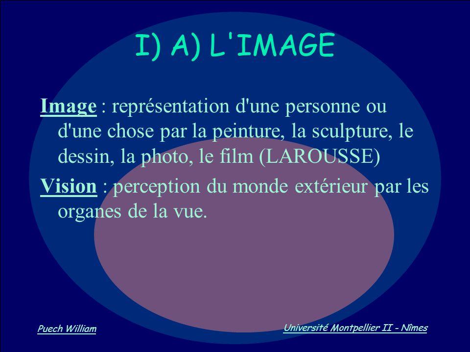 Vision par Ordinateur Puech William Université Montpellier II - Nîmes Image : représentation d'une personne ou d'une chose par la peinture, la sculptu