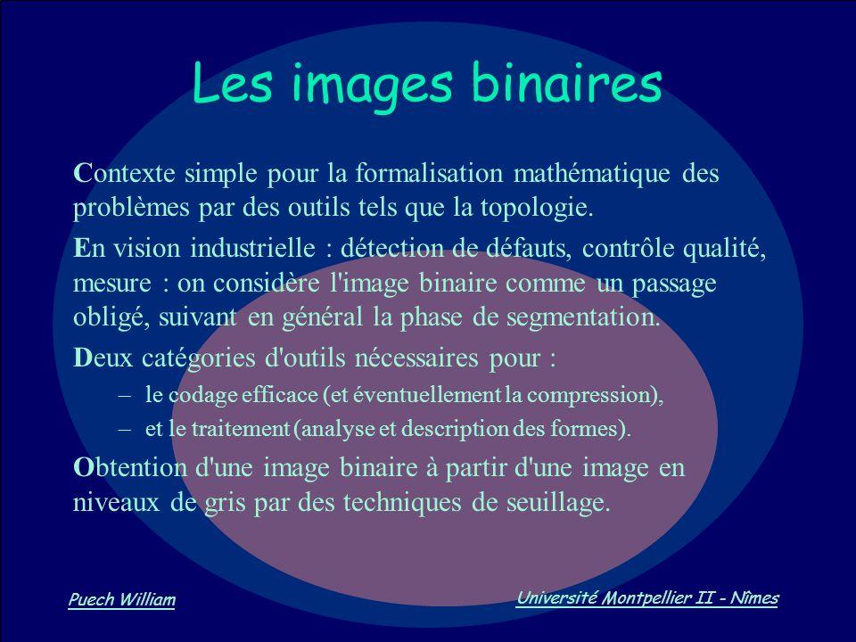 Vision par Ordinateur Puech William Université Montpellier II - Nîmes Les images binaires Contexte simple pour la formalisation mathématique des probl