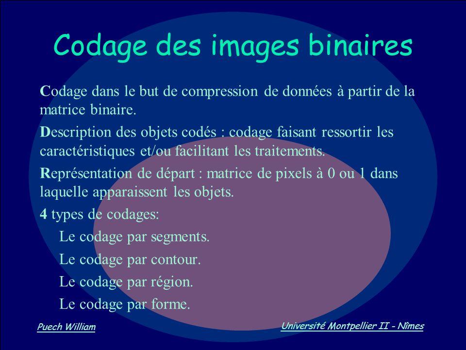 Vision par Ordinateur Puech William Université Montpellier II - Nîmes Codage des images binaires Codage dans le but de compression de données à partir