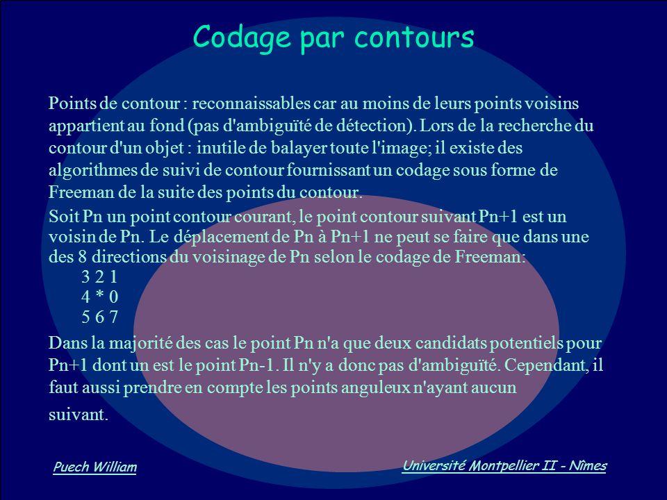 Vision par Ordinateur Puech William Université Montpellier II - Nîmes Codage par contours Points de contour : reconnaissables car au moins de leurs po