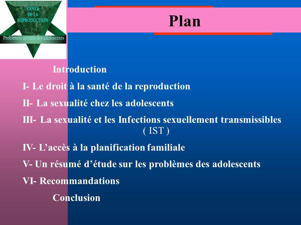 Introduction I- Le droit à la santé de la reproduction II- La sexualité chez les adolescents III- La sexualité et les Infections sexuellement transmissibles ( IST ) IV- Laccès à la planification familiale V- Un résumé détude sur les problèmes des adolescents VI- Recommandations Conclusion Plan