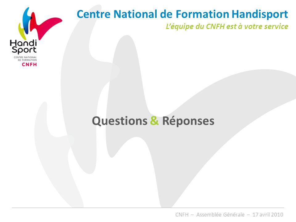 Questions & Réponses Centre National de Formation Handisport Léquipe du CNFH est à votre service CNFH – Assemblée Générale – 17 avril 2010