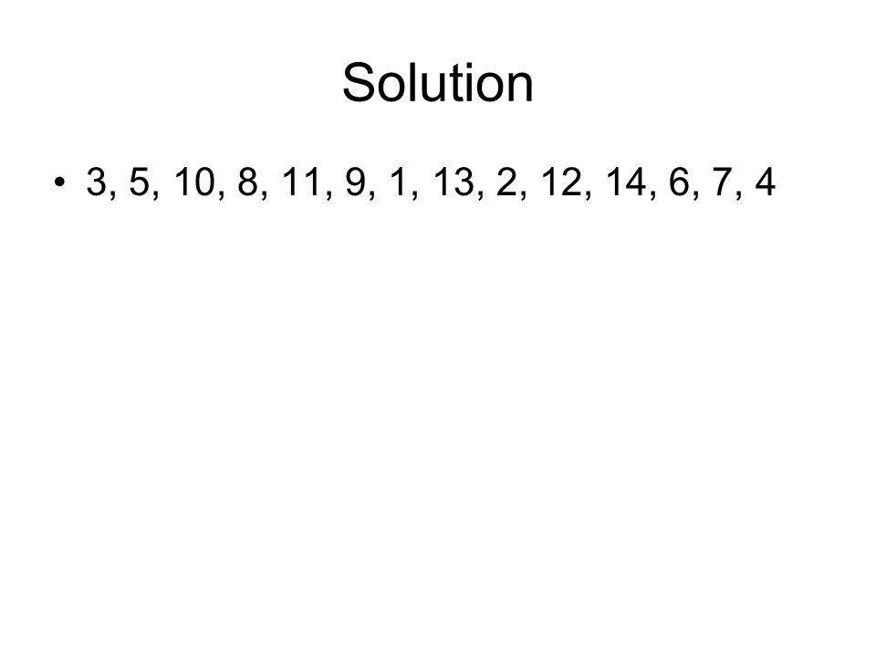 Solution 3, 5, 10, 8, 11, 9, 1, 13, 2, 12, 14, 6, 7, 4