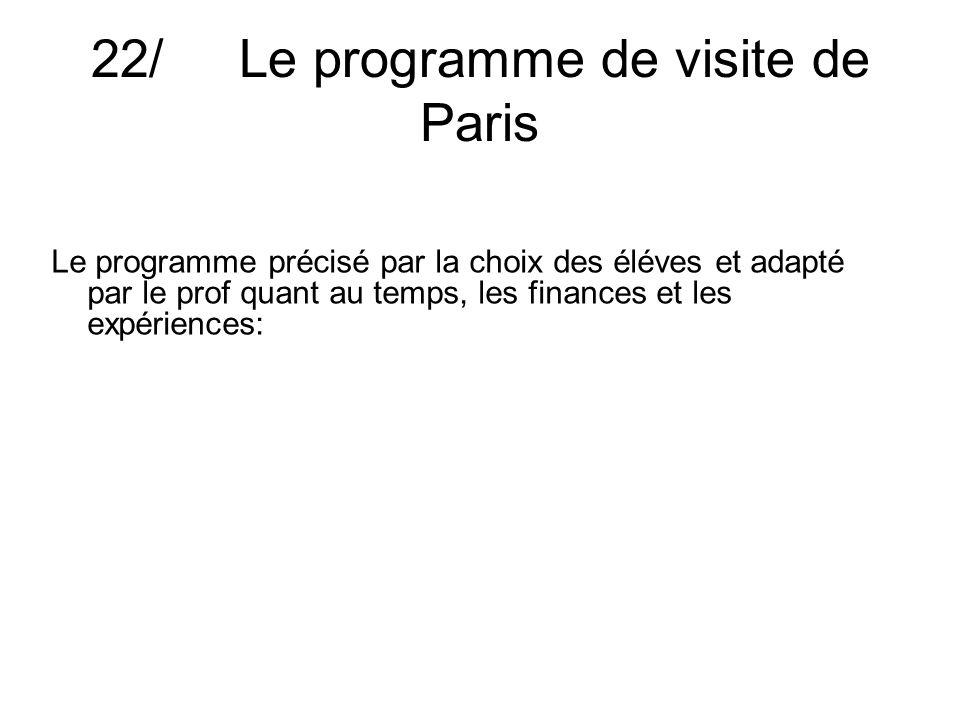 22/ Le programme de visite de Paris Le programme précisé par la choix des éléves et adapté par le prof quant au temps, les finances et les expériences: