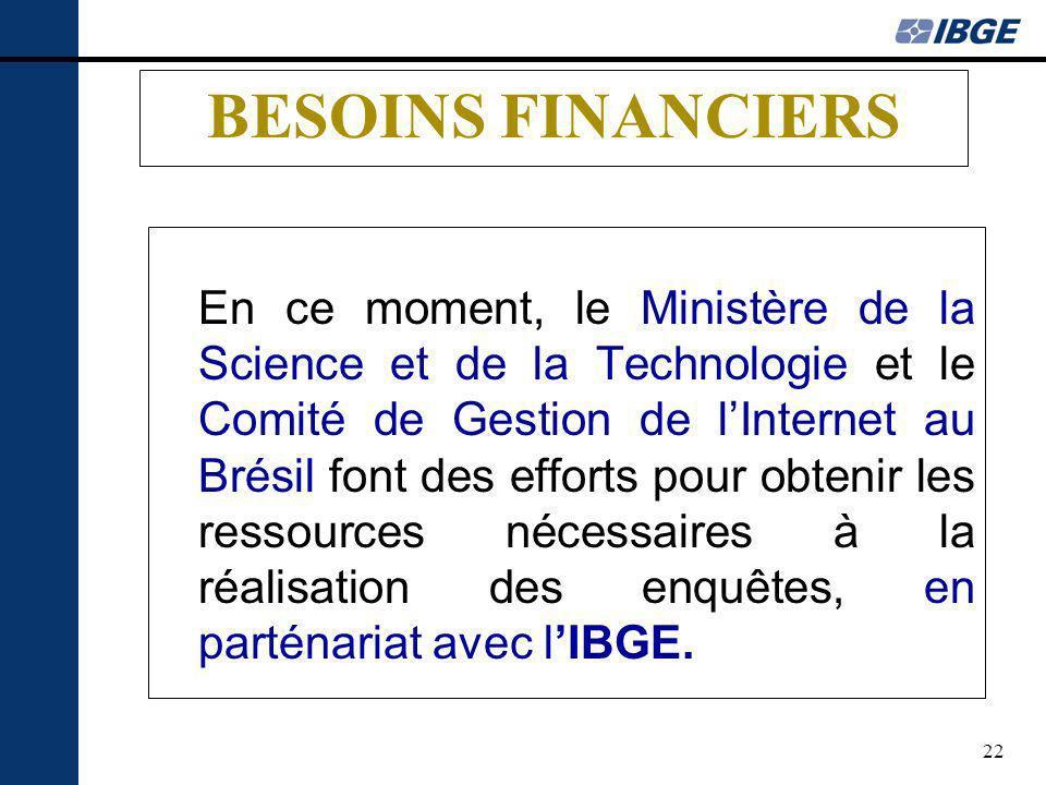 22 BESOINS FINANCIERS En ce moment, le Ministère de la Science et de la Technologie et le Comité de Gestion de lInternet au Brésil font des efforts pour obtenir les ressources nécessaires à la réalisation des enquêtes, en parténariat avec lIBGE.