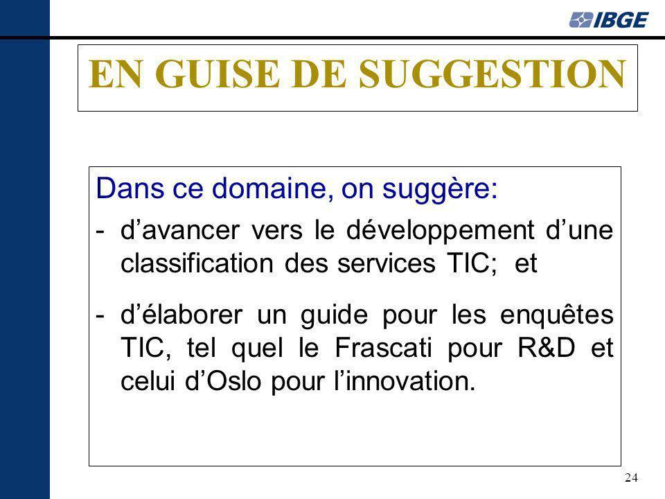24 EN GUISE DE SUGGESTION Dans ce domaine, on suggère: -davancer vers le développement dune classification des services TIC; et -délaborer un guide pour les enquêtes TIC, tel quel le Frascati pour R&D et celui dOslo pour linnovation.