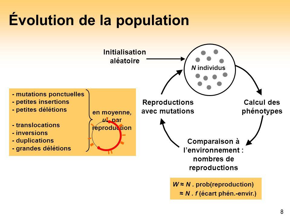 8 Évolution de la population - mutations ponctuelles - petites insertions - petites délétions - translocations - inversions - duplications - grandes d