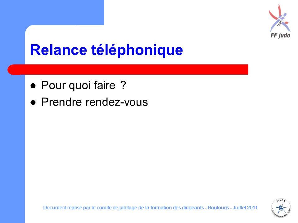 Relance téléphonique Pour quoi faire ? Prendre rendez-vous Document réalisé par le comité de pilotage de la formation des dirigeants - Boulouris - Jui