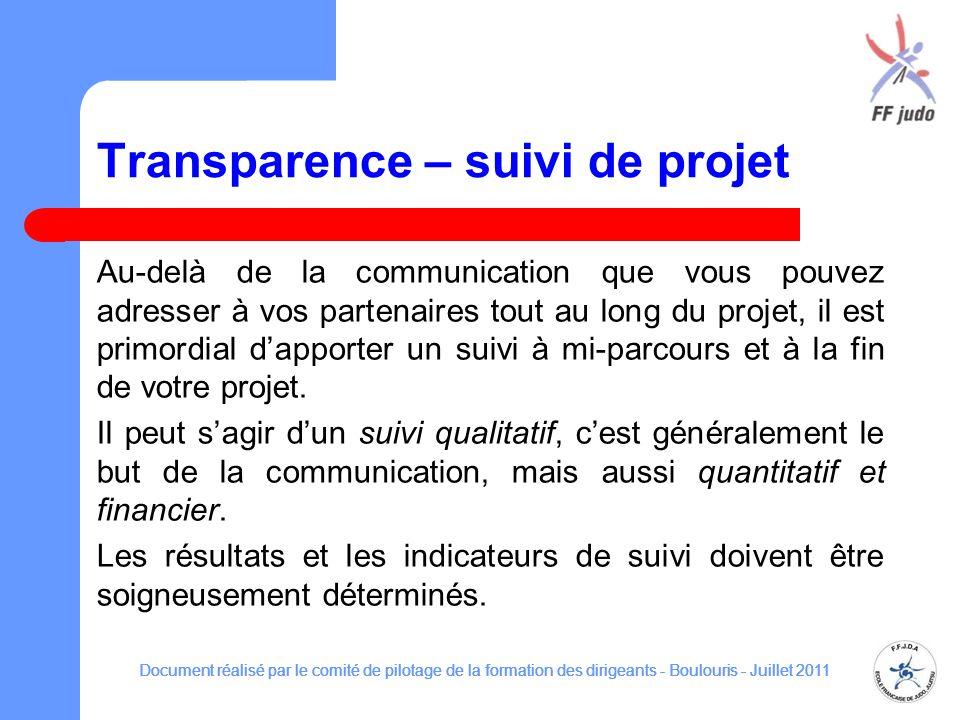 Transparence – suivi de projet Au-delà de la communication que vous pouvez adresser à vos partenaires tout au long du projet, il est primordial dapporter un suivi à mi-parcours et à la fin de votre projet.