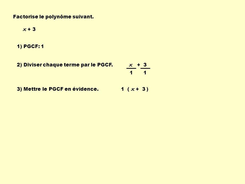 1 ( ) x + 3 1) PGCF: 1 2) Diviser chaque terme par le PGCF. 11 3) Mettre le PGCF en évidence. x + 3 Factorise le polynôme suivant. x + 3