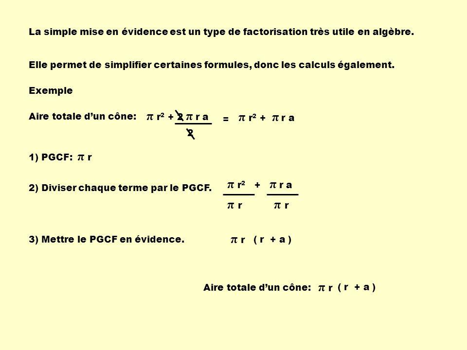 La simple mise en évidence est un type de factorisation très utile en algèbre. Elle permet de simplifier certaines formules, donc les calculs égalemen