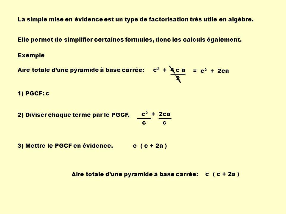 c 2 + 2ca La simple mise en évidence est un type de factorisation très utile en algèbre. Elle permet de simplifier certaines formules, donc les calcul