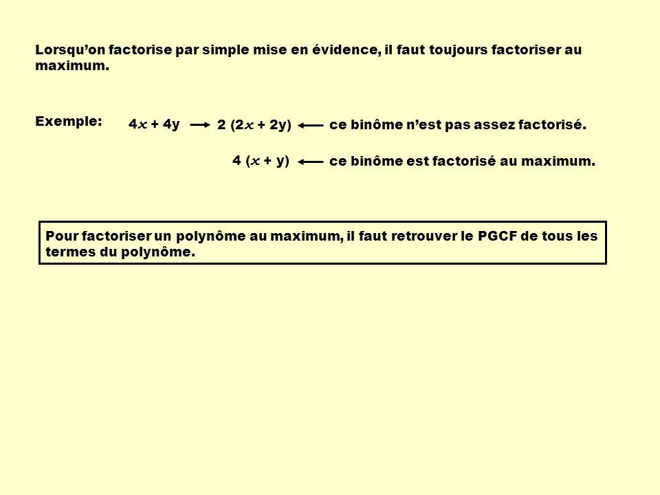 Lorsquon factorise par simple mise en évidence, il faut toujours factoriser au maximum. Exemple: 4 x + 4y 2 (2 x + 2y) ce binôme nest pas assez factor
