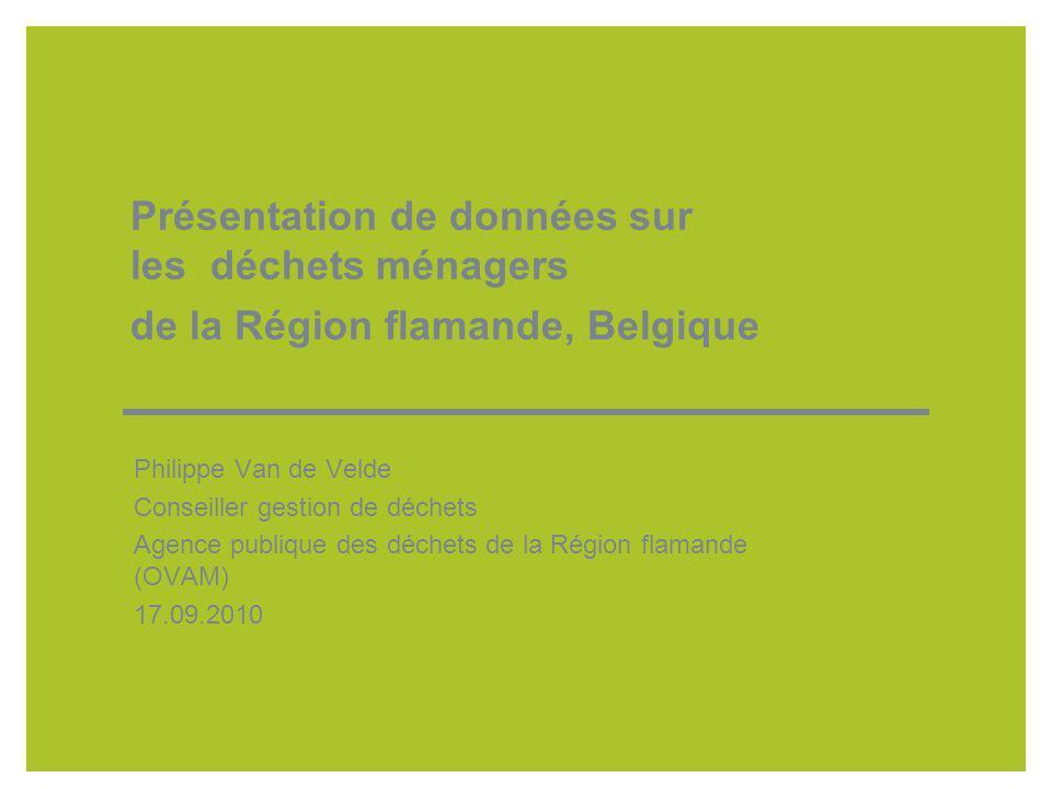 Présentation de données sur les déchets ménagers de la Région flamande, Belgique Philippe Van de Velde Conseiller gestion de déchets Agence publique des déchets de la Région flamande (OVAM) 17.09.2010