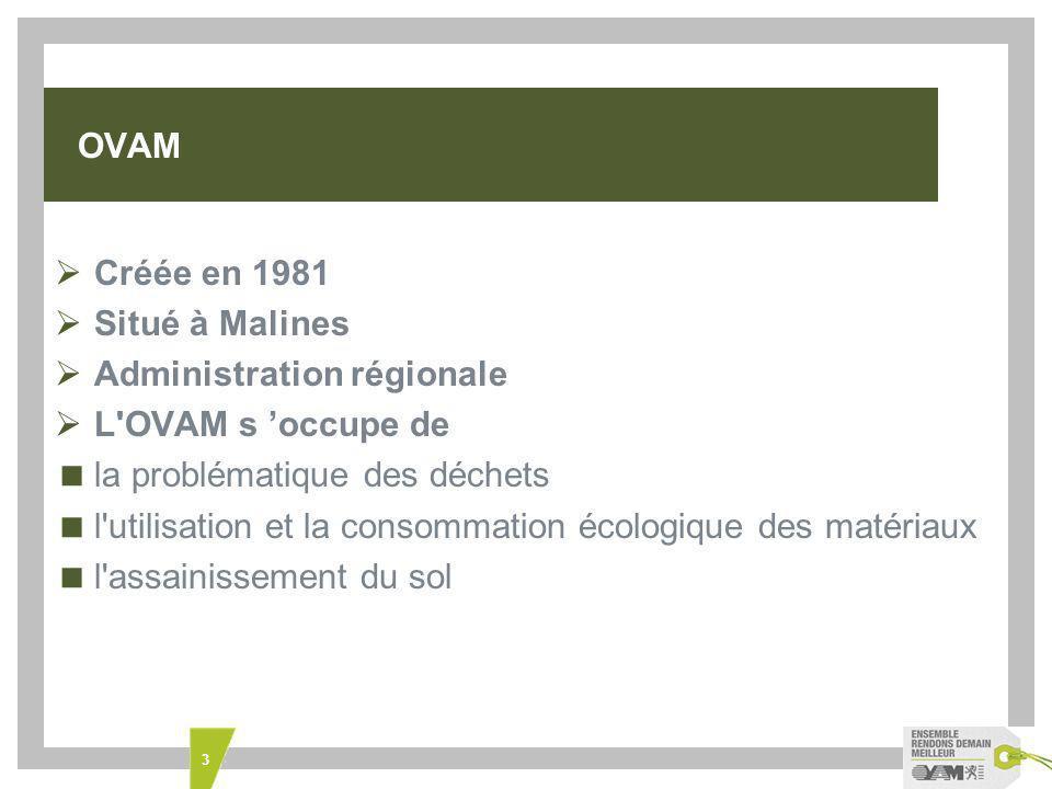3 OVAM Créée en 1981 Situé à Malines Administration régionale L OVAM s occupe de la problématique des déchets l utilisation et la consommation écologique des matériaux l assainissement du sol