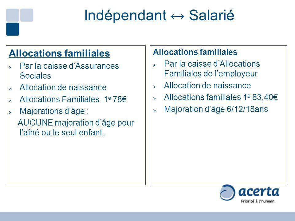 Indépendant Salarié Allocations familiales Par la caisse dAssurances Sociales Allocation de naissance Allocations Familiales 1 e 78 Majorations dâge :